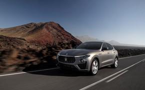 Картинка дорога, машина, горы, разметка, кроссовер, Maserati Levante Vulcano