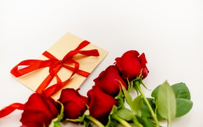 Картинка подарок, розы, лента, красные, red, 8 марта, flowers, romantic, roses, gift box