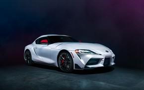 Картинка фон, белая, вид спереди, Toyota Supra