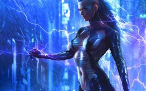 Обои девушка, игра, арт, киборг, Cyberpunk 2077