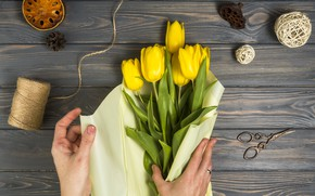 Картинка цветы, бумага, букет, тюльпаны, wood, упаковка