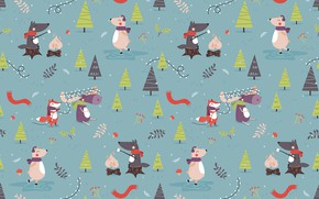 Картинка new year, holidays, animals, art, pattern, textures, funny, bears, foxes, 4k ultra hd background