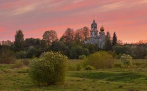 Картинка закат, природа, весна, вечер, церковь, Максим Евдокимов