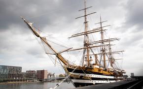 Картинка корабль, пристань, парусник
