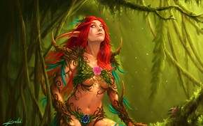 Картинка Игра, Лес, Стиль, Эльфийка, World of Warcraft, Fantasy, Warcraft, Blizzard, Эльф, Арт, Art, Style, Фантастика, …