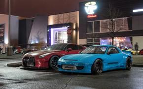 Картинка City, Mazda, Cars, Rain, RX-7, Nissan GT-R, Mazda RX-7 widebody