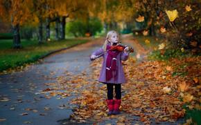Картинка осень, листья, природа, скрипка, девочка, аллея, ребёнок, Постонен Екатерина