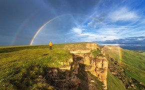 Картинка человек, вид, радуга, Горы, долина, плато