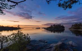 Картинка небо, вода, закат, природа, озеро