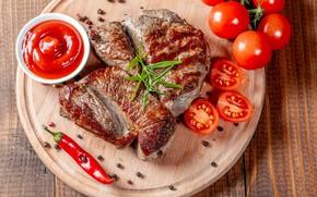 Картинка фото, мясо, доска, перец, помидоры