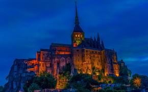 Картинка ночь, огни, скала, Франция, монастырь, Мон-Сен-Мишель