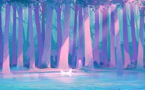 Картинка девушка, ночь, фэнтези, водоем, полумесяц