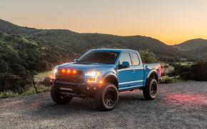 Картинка закат, фары, Ford, Raptor, пикап, F-150, Hennessey, 2019, VelociRaptor V8