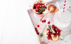Картинка завтрак, банан, мюсли, йогурт
