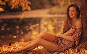Картинка осень, листья, девушка, поза, улыбка, настроение, платье, ножки, плечо, Finus, Robert Wypiór