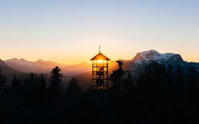 Картинка свет, утро, вышка, Austria, Salzkammgergut