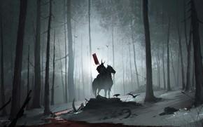 Картинка Ночь, Деревья, Лес, Конь, Воин, Самурай, Warrior, Night, Samurai, Всадник, Forest, Horse