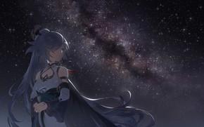 Картинка небо, девушка, ночь, млечный путь, Honkai Impact 3, Azure Empyrea