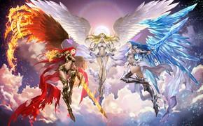 Картинка крылья, фэнтези, арт, Bluezima : Dong-Wook Shin, Three Goddess