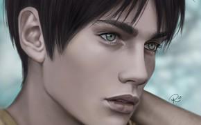Картинка взгляд, рисунок, портрет, парень, Атака Титанов, Shingeki No Kyojin, Эрен Йегер, by redwarrior3