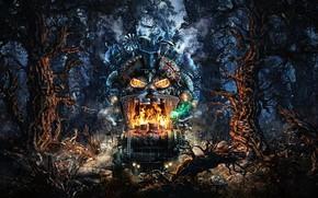 Картинка машина, лес, деревья, мрак, DarkWoods