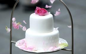 Картинка цветы, торт, ярусы, ранункулюс, свадебный