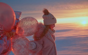 Картинка зима, воздушные шары, шапка, девочка, шубка, Александр Гранкин