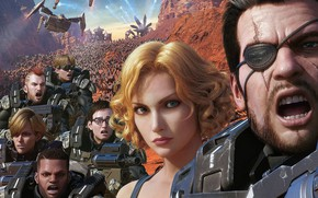 Картинка Девушки, Монстры, Блондинка, Доспехи, Люди, Армия, Парни, Оружия, 3D, Шатлы, Звёздный десант: Вторжение, Starship Troopers: …