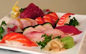 Картинка суши, нарезка, васаби, красная рыба