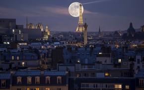Картинка ночь, город, Париж, Moon Tower