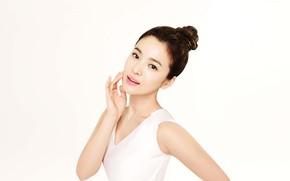 Картинка белый фон, азиатка, brown eyes, карие глаза, очарование, asian, милая девушка, желанная, cute girl, white …