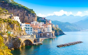 Картинка море, горы, мост, дома, Италия, Амальфи