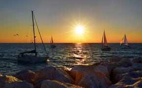 Картинка море, пейзаж, закат, природа, лодки, парусники