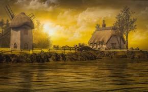 Картинка небо, солнце, облака, свет, деревья, пейзаж, закат, птицы, природа, камни, рендеринг, берег, ограждение, мельница, домик, …