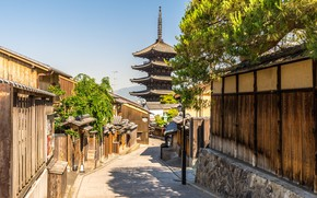 Картинка Дома, Город, Япония, Улица, Киото