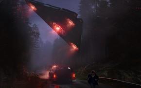 Картинка Авто, НЛО, Ночь, Человек, Машина, Car, Fantasy, Арт, Art, Космический Корабль, Фантастика, Concept Art, UFO, ...