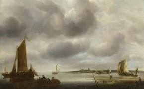 Картинка лодка, картина, парус, Jan van de Cappelle, Ян ван Каппель, Прибрежная сцена