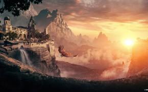 Картинка горы, замок, птица, водопад, Lost in Reverie