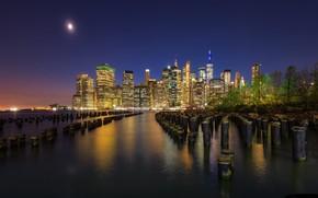 Картинка ночь, Нью-Йорк, город, США