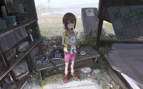 Картинка девочка, телефон, полки, Приключения Дигимонов