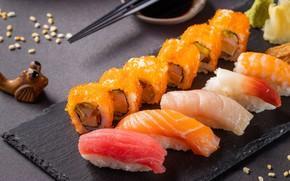 Картинка рыба, икра, суши, ассорти, сашими