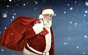 Картинка зима, снежинки, фон, праздник, шапка, очки, Рождество, подарки, Новый год, перчатки, шуба, борода, мешок, Дед …