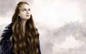 Картинка зима, девушка, снег, длинные волосы
