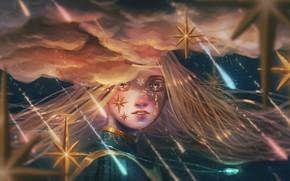 Картинка девушка, звезды, облака, капли, ночь