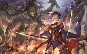 Картинка девушка, монстр, арт, Fate / Grand Order, Судьба великая кампания