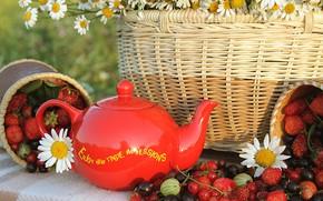 Картинка ягоды, чай, корзина, чайник