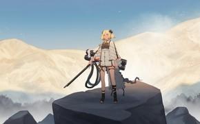 Картинка небо, девушка, горы, птицы, оружие, рожки