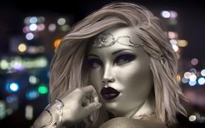 Картинка девушка, огни, фон, украшение, боке, серебряная кожа