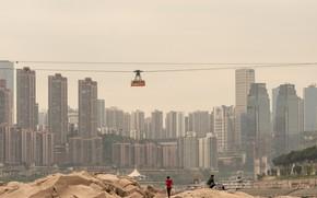 Картинка камни, люди, здания, водоём, HUMAN vs CITY CHONGQING