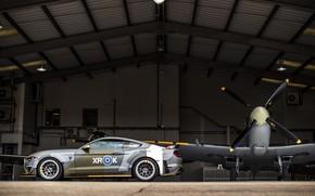 Картинка Ford, Профиль, Ангар, 2018, Supermarine Spitfire, RAF, Королевские ВВС, Mustang GT, Eagle Squadron